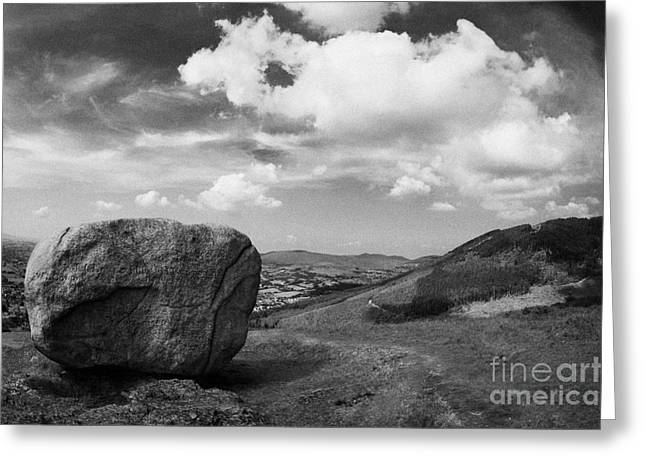 Martin County Greeting Cards - The cloughmore stone and surrounding hillsides near Slieve Martin Rostrevor Greeting Card by Joe Fox