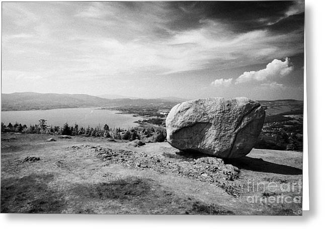 Martin County Greeting Cards - The cloughmore stone looking down on Carlingford Lough Greeting Card by Joe Fox