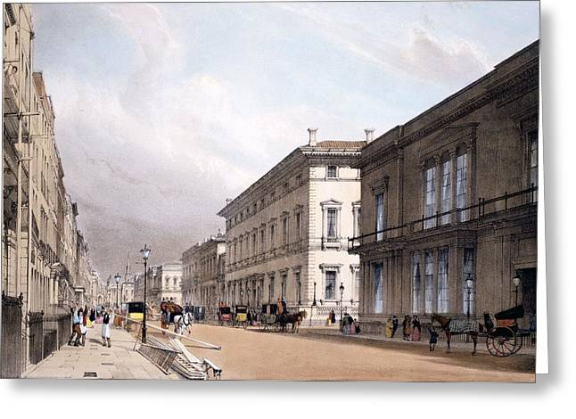 The Club Houses, Pall Mall, 1842 Greeting Card by Thomas Shotter Boys