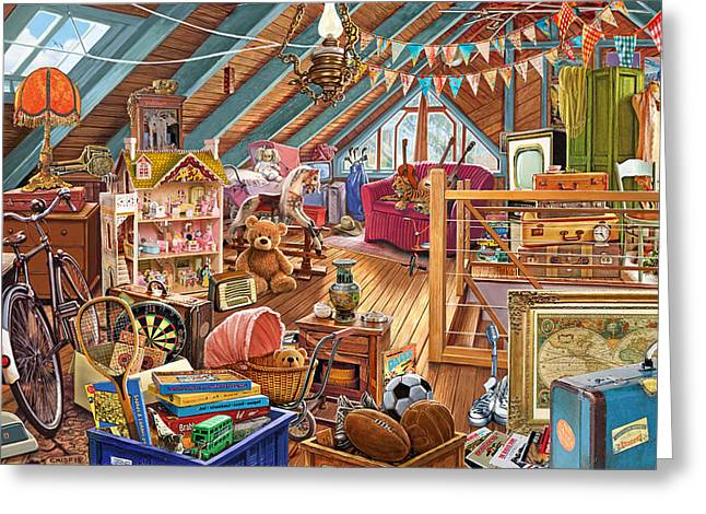The Cluttered Attic  Greeting Card by Steve Crisp
