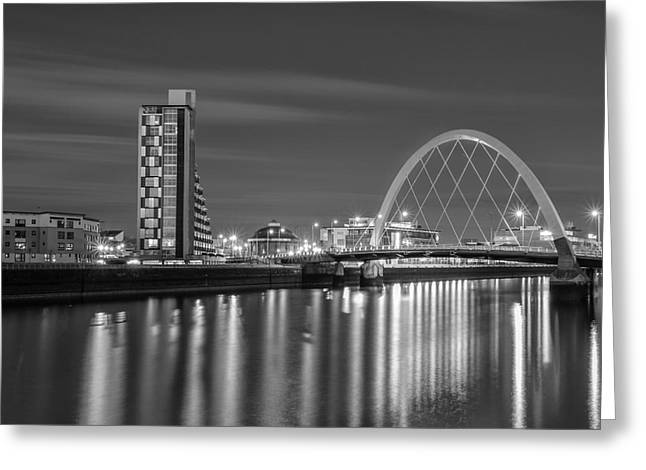 Light Trails Greeting Cards - The Clyde Arc mono Greeting Card by John Farnan