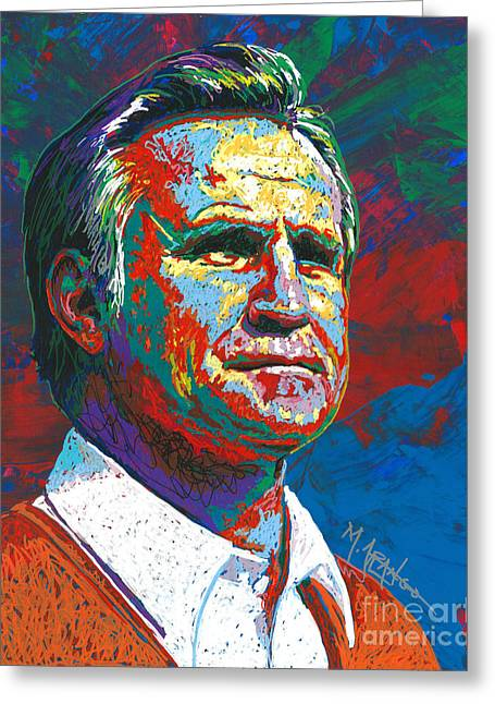 National Football League Paintings Greeting Cards - The Coach Greeting Card by Maria Arango