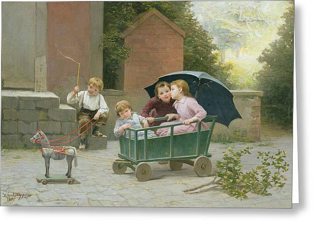 Little Sister Greeting Cards - The Coach Ride Greeting Card by Charles Bertrand DEntraygues