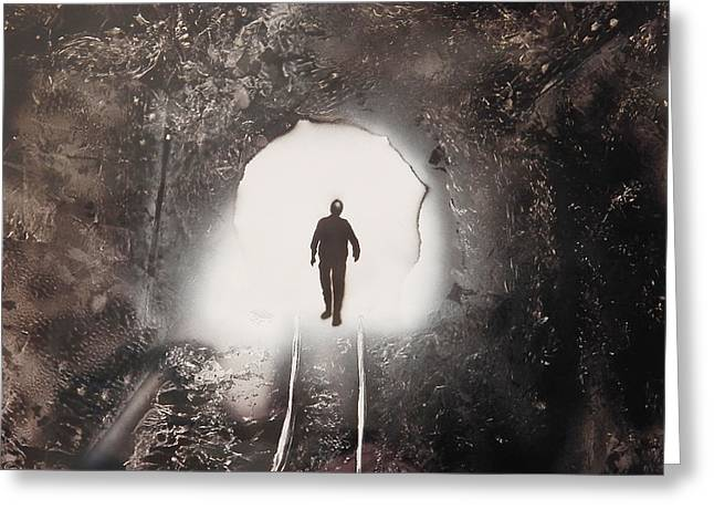 Manual Paintings Greeting Cards - The Coal Miner Greeting Card by Brett Day
