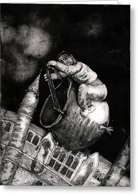 Scuttle Greeting Cards - The Coal Scuttle Rider Greeting Card by Sassy Luke