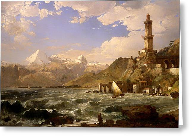 Genoa Paintings Greeting Cards - The Coast of Genoa Greeting Card by Jasper Cropsey