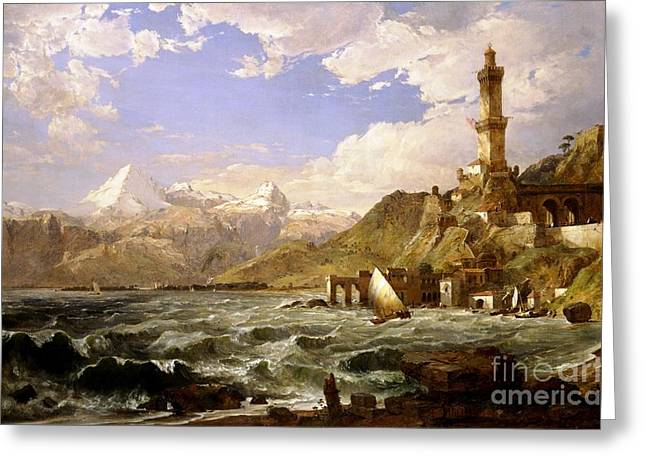 Genoa Paintings Greeting Cards - The Coast of Genoa Greeting Card by Pg Reproductions