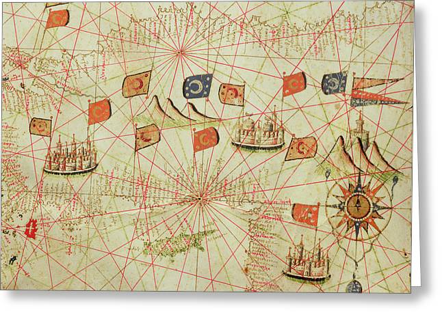 Anatolia Greeting Cards - The Coast Of Turkey And Cyprus, From A Nautical Atlas Of The Mediterranean And Middle East Ink Greeting Card by Calopodio da Candia
