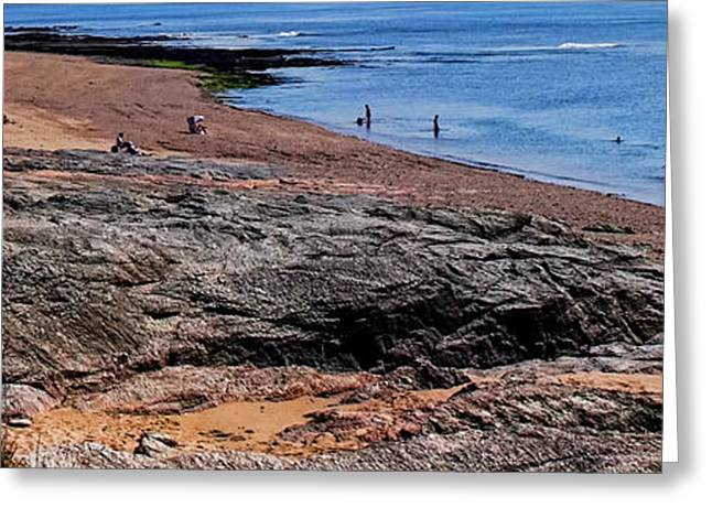 Sunbathing Greeting Cards - The Coast of Vendee Triptych Left Greeting Card by Olivier Le Queinec