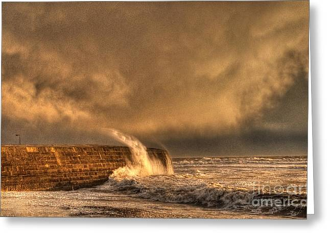 Stormy Greeting Cards - The Cobb Lyme Regis Greeting Card by Curtis Radclyffe