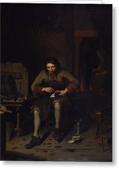 Hammer Paintings Greeting Cards - The Cobbler, C.1675 Greeting Card by Dutch School