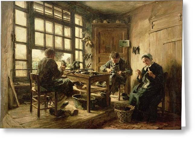 Les Greeting Cards - The Cobblers, 1880 Oil On Canvas Greeting Card by Leon Augustin Lhermitte