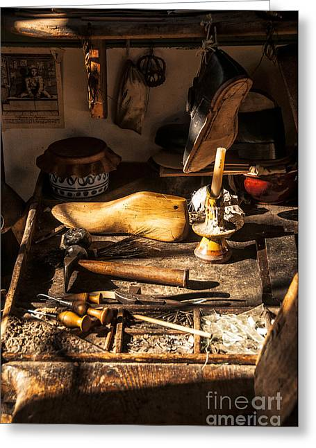 Work Bench Greeting Cards - The Cobblers Shop Greeting Card by Terry Rowe