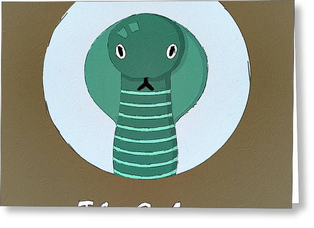 Cobra Art Greeting Cards - The Cobra Cute Portrait Greeting Card by Florian Rodarte