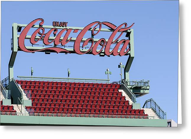 Boston Red Sox Greeting Cards - The Coca-Cola Corner Greeting Card by Susan Candelario