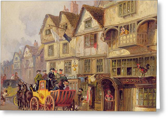 Horse And Cart Greeting Cards - The Cock Tavern Greeting Card by Albert Joseph Moore