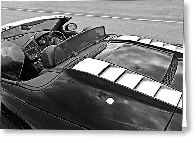 Geometric Artwork Greeting Cards - The Cockpit - Audi R8 Spyder Black and White Greeting Card by Gill Billington