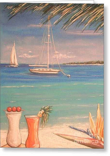 Sailing Pastels Greeting Cards - The Cocktail Hour Greeting Card by The Beach  Dreamer