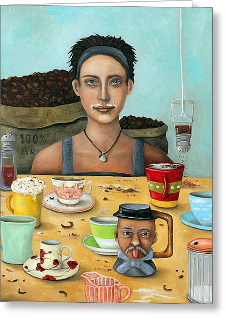 Kaffee Greeting Cards - The Coffee Addict brighter Greeting Card by Leah Saulnier The Painting Maniac