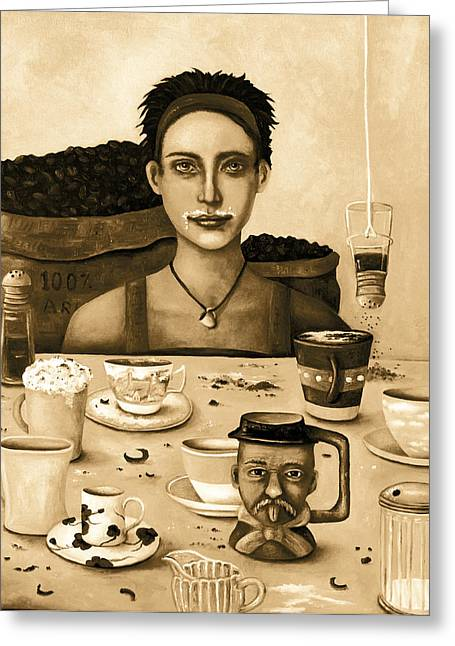 Mustache Greeting Cards - The Coffee Addict In Sepia Greeting Card by Leah Saulnier The Painting Maniac