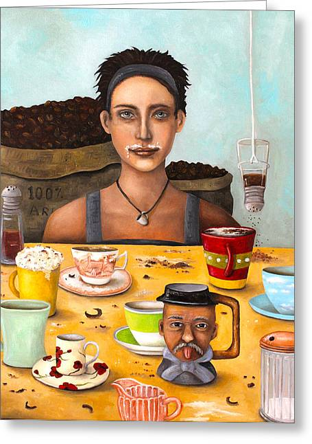 Kaffee Greeting Cards - The Coffee Addict Greeting Card by Leah Saulnier The Painting Maniac