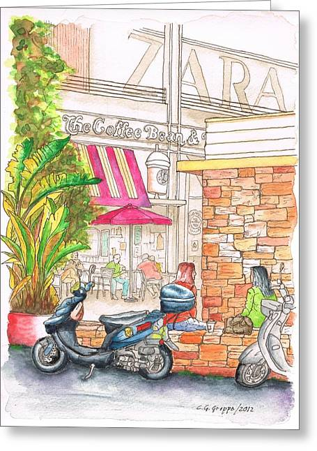 Green Beans Paintings Greeting Cards - The Coffee Bean at Farmers Market - Los Angeles - CA Greeting Card by Carlos G Groppa