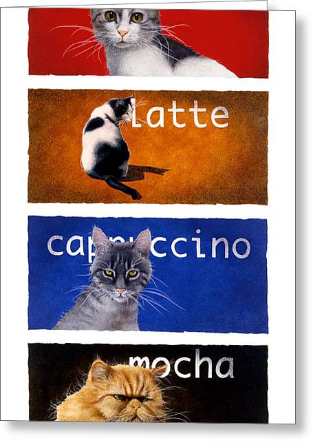 Specialty Greeting Cards - The Coffee Cats... Greeting Card by Will Bullas