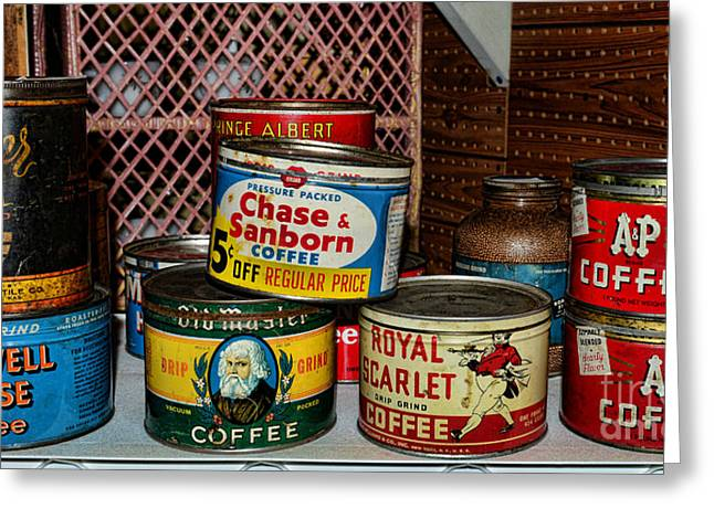 Canned Goods Greeting Cards - The coffee drinker Greeting Card by Paul Ward