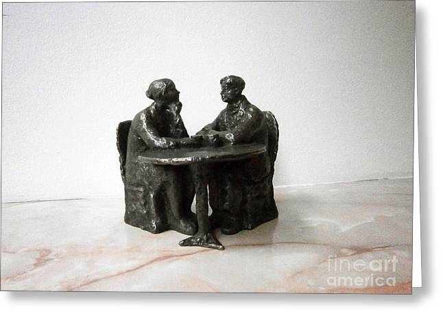 Realism Sculpture Sculptures Sculptures Greeting Cards - The coffee Greeting Card by Nikola Litchkov