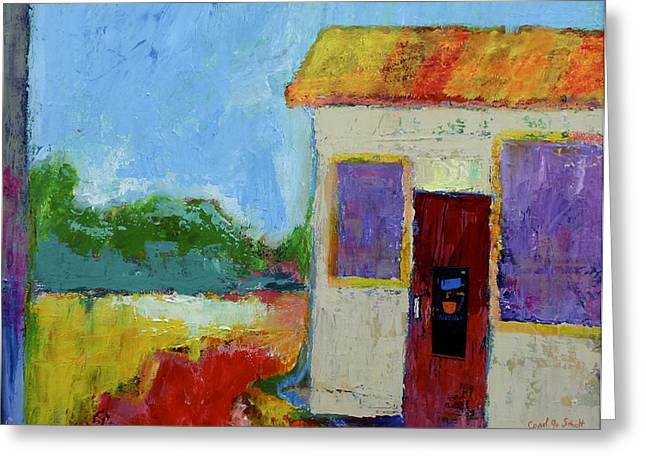 The Coffee Shop Greeting Card by Carol Jo Smidt