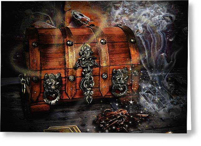 Playing Cards Greeting Cards - The coffer of spells Greeting Card by Alessandro Della Pietra