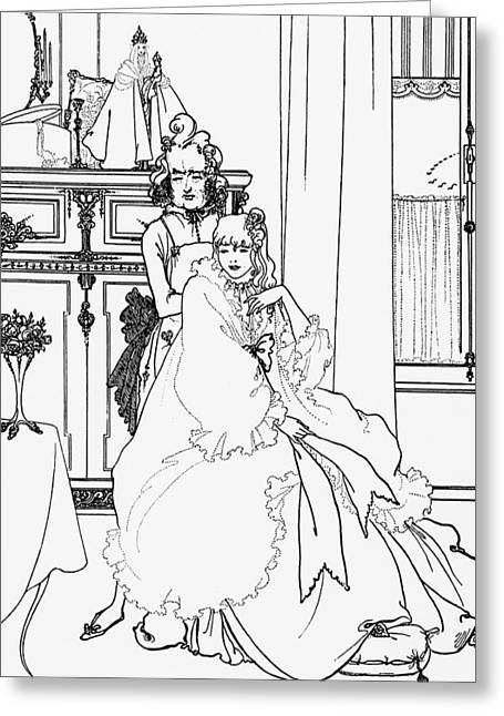 Sit-ins Drawings Greeting Cards - The Coiffing Greeting Card by Aubrey Beardsley