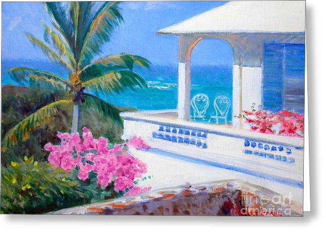 Saba Rock Greeting Cards - The Coleman Cottage Greeting Card by Candace Lovely