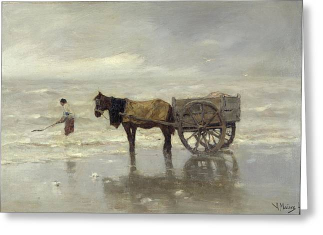 Horse And Cart Photographs Greeting Cards - The Collection At Goemon Oil On Canvas Greeting Card by Anton Mauve