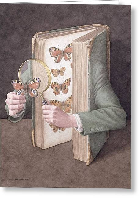 Open Book Greeting Cards - The Collector, 2005 Wc On Paper Greeting Card by Jonathan Wolstenholme