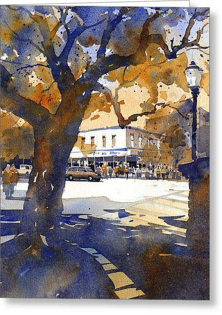 Oaks Greeting Cards - The College Street Oak Greeting Card by Iain Stewart
