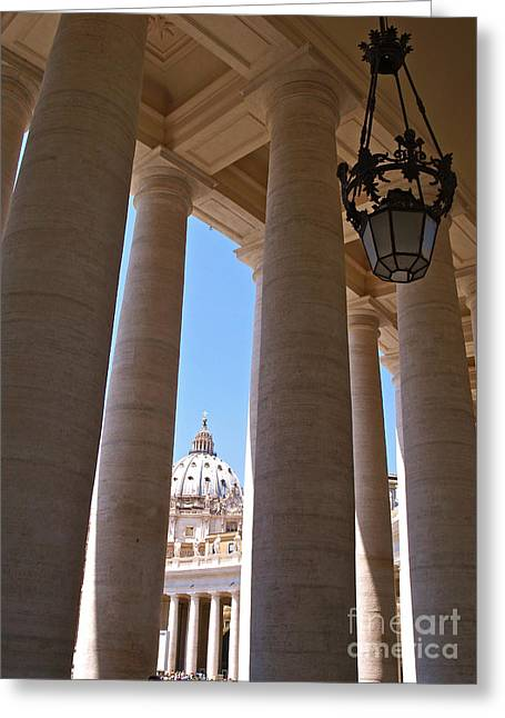 The Vatican Greeting Cards - The Colonnade Greeting Card by Alex Cassels