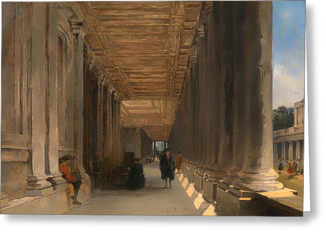 Queen Mary Paintings Greeting Cards - The Colonnade of Queen Marys House in Greenwich Greeting Card by James Holland