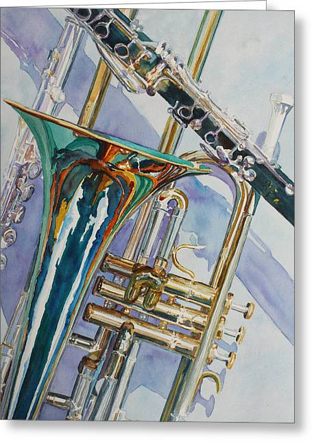 Brass Greeting Cards - The Color of Music Greeting Card by Jenny Armitage