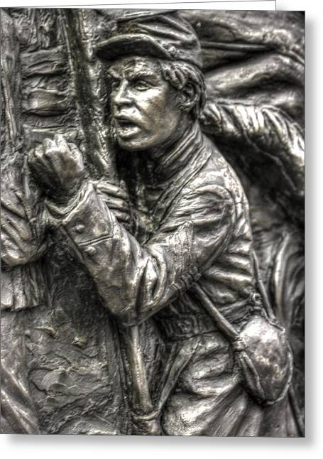 Aotp Greeting Cards - The Color Sergeant.  State of Delaware Monument Detail-G Gettysburg Autumn Mid-Day. Greeting Card by Michael Mazaika