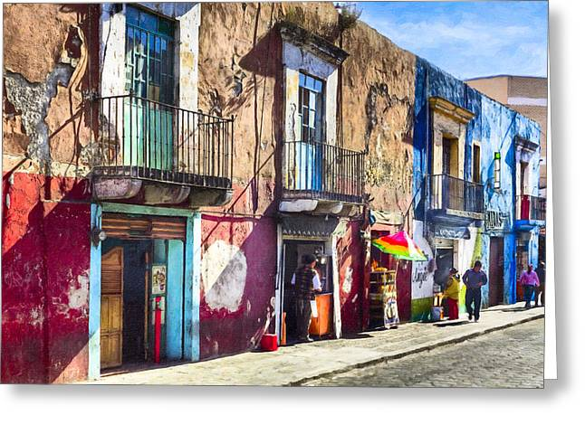 Worn Down Greeting Cards - The Colorful Streets of Puebla Mexico Greeting Card by Mark Tisdale