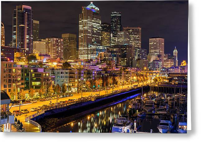 Pacificnorthwest Greeting Cards - The Colors of Night lights in Seattle Greeting Card by Ken Stanback