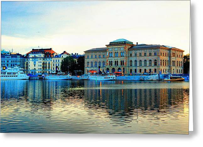 Buildings In The Harbor Greeting Cards - The Colors of Stockholm Greeting Card by Jenny Hudson