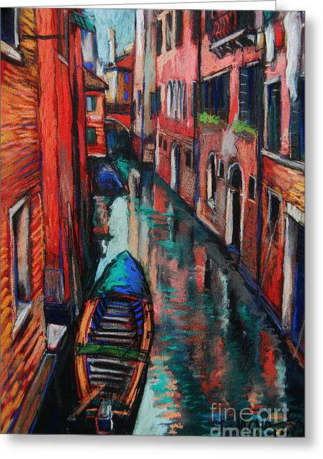 Recently Sold -  - Reflections Of Sky In Water Greeting Cards - The Colors Of Venice Greeting Card by Mona Edulesco