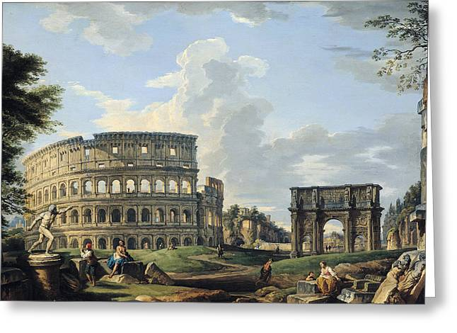 Paolo Greeting Cards - The Colosseum and the Arch of Constantine Greeting Card by Giovanni Paolo Panini