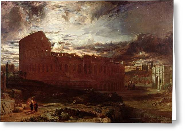 Ruins Paintings Greeting Cards - The Colosseum, Rome, 1860 Greeting Card by Frederick Lee Bridell