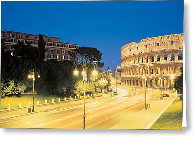 Historic Ruins Greeting Cards - The Colosseum Rome Italy Greeting Card by Panoramic Images