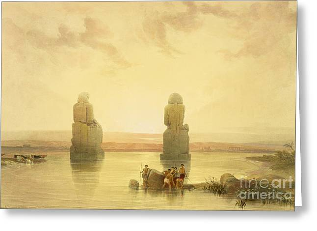 Colossal Greeting Cards - The Colossi of Memnon Greeting Card by David Roberts