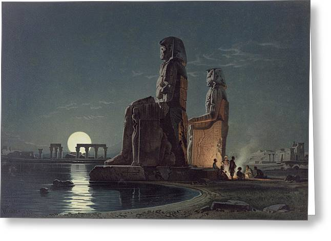 Pharaoh Drawings Greeting Cards - The Colossi Of Memnon, Thebes, One Greeting Card by Carl Friedrich Heinrich Werner