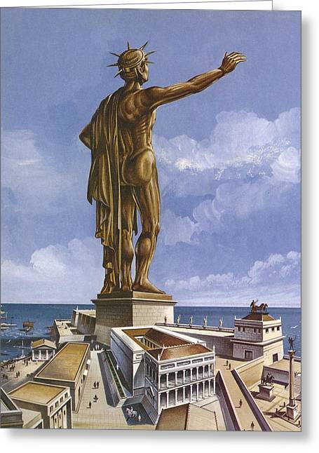 Wonders Of The World Greeting Cards - The Colossus Of Rhodes Colour Litho Greeting Card by English School